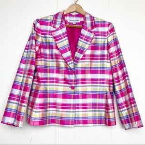 Kasper & Company Silk Madras Plaid Jacket